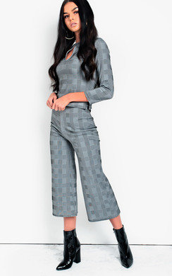 View the Mellie Check Culotte High Waist Crop Co-ord  online at iKrush