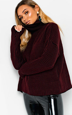 View the Mhari Oversized Polo Neck Knitted Jumper online at iKrush