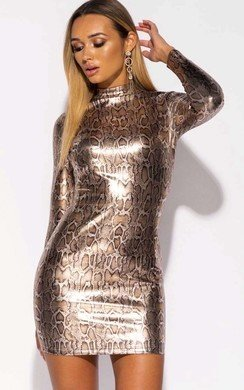View the Mia Metallic Snake Print Bodycon Dress online at iKrush