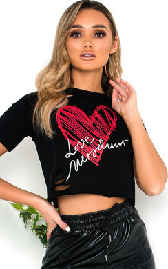 View the Mia Slogan Slashed Crop Top online at iKrush