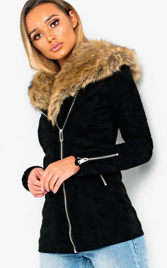 View the Mila Faux Suede Fur Lined Jacket online at iKrush