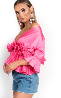 View the Mila Peplum Ruffle Satin Top online at iKrush