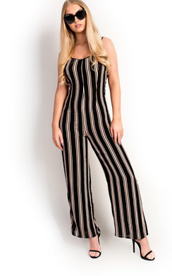 View the Mila Striped Wide Legged Loose Jumpsuit online at iKrush