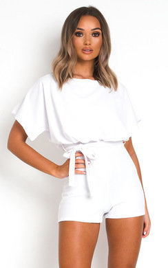 View the Mila Tie Waist Playsuit online at iKrush