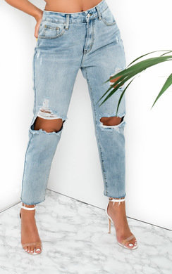 View the Mills Distressed Mom Jeans  online at iKrush