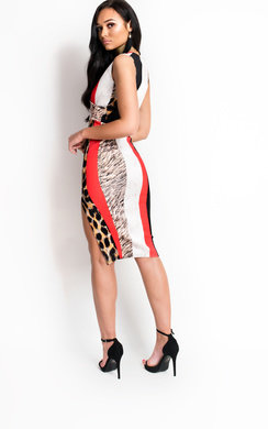 View the Mimi Multi Print Midi Dress online at iKrush