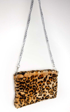 View the Mina Leopard Fluffy Shoulder Bag online at iKrush