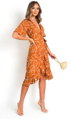 View the Mina Wrap Front Midi Dress online at iKrush