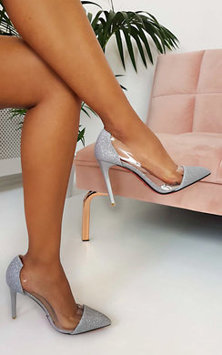View the Mindi Glitter Perspex Court Heels  online at iKrush