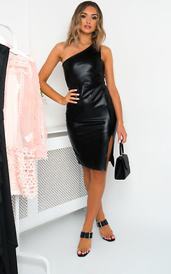 View the Mindy One Shoulder Faux Leather Dress online at iKrush