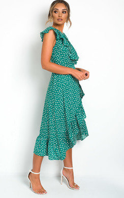 View the Mindy Polka Dot Wrap Midi Dress online at iKrush
