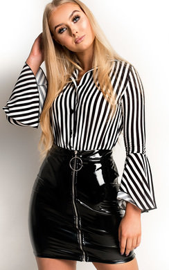View the Minnie Striped Bell Sleeve Bodysuit online at iKrush