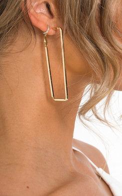View the Miranda Statement Rectangle Hoop Earrings  online at iKrush