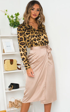 View the Mirrin Satin Midi Skirt online at iKrush