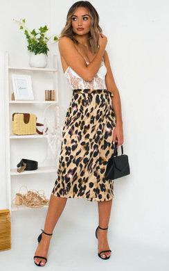 View the Mirrin Satin Midi Skirt online at iKrush