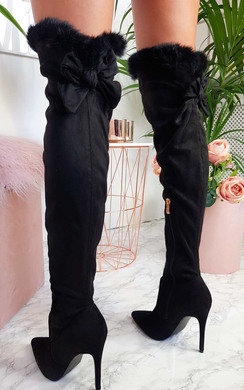 View the Mischa Over The Knee Fluffy Bow Boots  online at iKrush