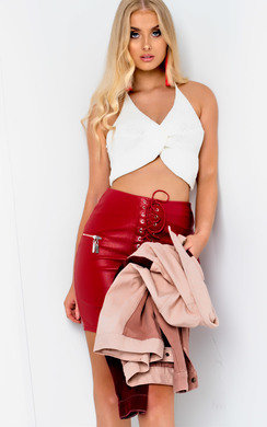 View the Mishti Faux Leather Lace Up Skirt  online at iKrush