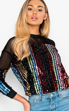 View the Misty Sequin Stripe Sheer Neck Top online at iKrush
