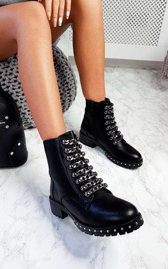 View the Mitchel Lace Up Biker Boots online at iKrush