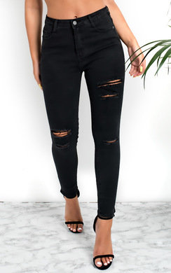 View the Miyah Ripped Skinny High-Rise Jeans online at iKrush