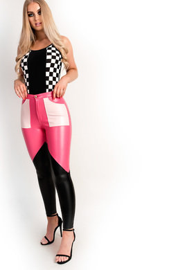 View the Miyka Biker Block Faux Leather Trousers online at iKrush