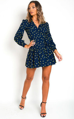 View the Moirah Polka Dot Low Neck Dress online at iKrush