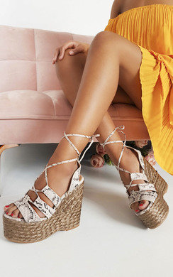 View the Molly Lace Up Wedged Heels online at iKrush