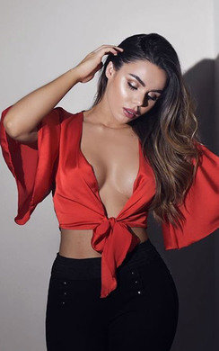 View the Molly Tie Flared Sleeved Satin Crop Top online at iKrush