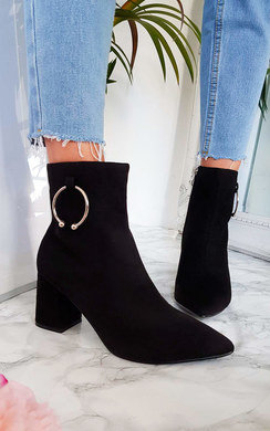 View the Mona Faux Suede Ring Ankle Boots online at iKrush