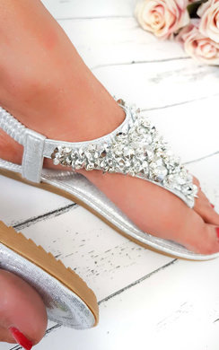 View the Monika Clustered Sequin Embellished Sandals online at iKrush