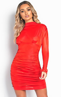 View the Monique Ruched Mini Dress online at iKrush