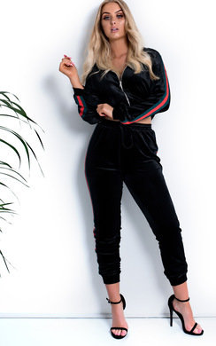 View the Morgan Stripe Velour Tracksuit online at iKrush