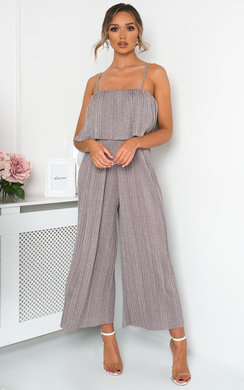 View the Nada Wide Leg Pleated Glitter Jumpsuit online at iKrush