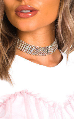 View the Natalie Silver Zigzag  Choker online at iKrush