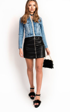 View the Natz Pearl Embellished Denim Jacket online at iKrush