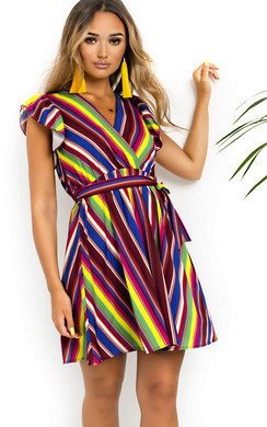 View the Nessa Frill Striped Dress online at iKrush