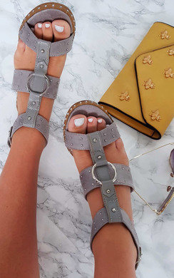 View the Niamh Strappy Studded Heeled Sandals online at iKrush