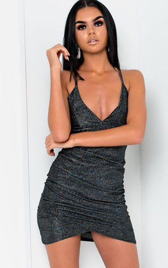 View the Nicki Shimmer Gathered Mini Bodycon Dress  online at iKrush