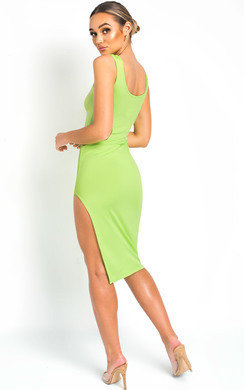 View the Nicole Side Split Midi Dress online at iKrush