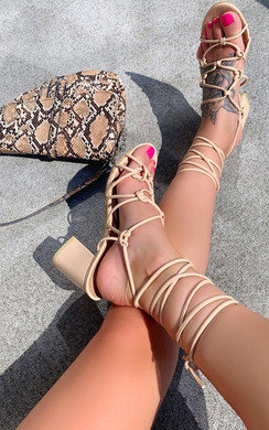 View the Nicoletta Tie Up Block Sandals online at iKrush