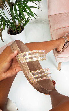 View the Nika Double Strap Diamante Sliders online at iKrush