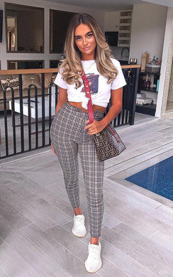 View the Nika High Waist Checked Trousers online at iKrush