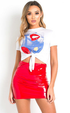 View the Nika Slinky PVC Bodycon Skirt online at iKrush