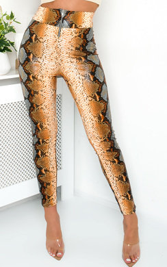 View the Nina High Waist Snake Trousers  online at iKrush