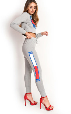 View the Nina Slim Fit Cropped Slogan Tracksuit online at iKrush