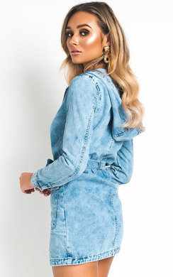 View the Ninah Longline Hooded Denim Jacket online at iKrush