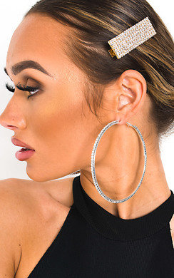 View the Nora Diamante Statement Hoop Earrings  online at iKrush