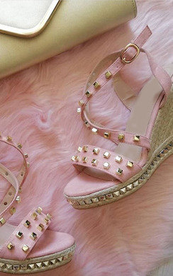 View the Nori Faux Suede Studded Roped Wedges online at iKrush