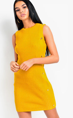 View the Nyan Knitted Button Mini Dress online at iKrush