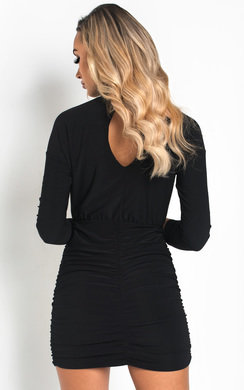 View the Nyla Slinky Long-Sleeved Ruched Mini Dress online at iKrush